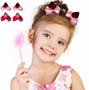 Syleia Simply Adorable Cat Ears Hair Clips Alligator clips clip-on two sets of two - with pink and rose bows. Great gift idea, party favours, party hair accessory or everyday fun look. For all ages.