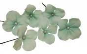 Olini Handmade Set of 6 Flower Hair Pins, Bridesmaids Hair Pins, Handcrafted Pins