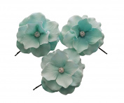 Olini Handmade Set of 3 Hair Flowers, Hair Pins, Handcrafted Bobby Pins