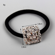 FUMUD Silver Plated Rhinestone Crystal Stretch Elastic Band Hair Tie Ponytail Holder