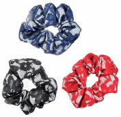 Assorted Colours Lace Scrunchies, 3-Pack, Black, Red & Dark Blue