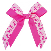 Victory Bows Double Layer Hot Pink Breast Cancer Awareness Hair Bow-Made in USA- Leighton Go Pink Pony Tail Band