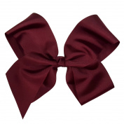 Victory Bows Extra Large 23cm Maroon Hair Bow made with 7.6cm Grosgrain Ribbon- The Haylie-Made in USA French Clip