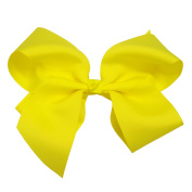 Victory Bows Extra Large 23cm Neon Yellow Hair Bow made with 7.6cm Grosgrain Ribbon- The Haylie-Made in USA French Clip