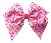 Victory Bows Large 18cm Breast Cancer Awareness Hair Bow- Fused Ribbon-Made in USA- Anna Go Pink Solid Pony Tail Band