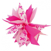 Victory Bows Spiky Pom Pom Breast Cancer Awareness Hair Bow Accessory- Made in USA- Sandra Go Pink Pony Tail Band