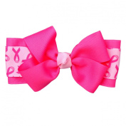 Victory Bows 13cm Bow Tie Breast Cancer Awareness Hair Bow-Made in USA- Payton Go Pink Pony Tail Band