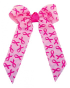 Victory Bows Small 13cm Breast Cancer Awareness Hair Bow- Made in USA- Ange Go Pink French Clip