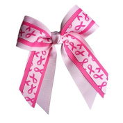 Victory Bows Multilayer Hot Pink, Light Pink Breast Cancer Awarenss Hair Bow- Made in USA- Mary Go Pink French Clip