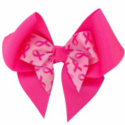 Victory Bows 13cm Breast Cancer Awareness Hair Bow with Mini Bow inside- Made in USA- Elizabeth Go Pink Pony Tail Band