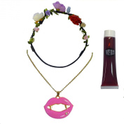 Vampire Bride Of Dracula Pink Fang Lips Necklace + Red Blood + Floral Headband
