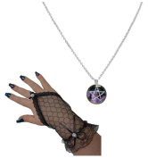 Purple Gothic Pentagram Carbochon Pendant Necklace + Fingerless Ring Gloves Set