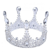 FUMUD 8.7cm High Luxury Round Tall Drop Crystal Crown Wedding Bridal Rhinestone Crowns Tiara Pageant Prom Headband