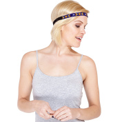 Native Design Boho Chic Beaded Leather Headband-Blue-OneSize