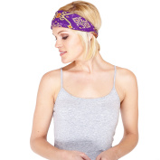 Aztec Bird's Eye Ikat Cotton active Headband-Purple-One Size