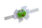 Little Girls Elastic Bow Headband with Felt Frog Fits 1 to 5 Years