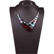 Wensltd Lady Women Multiple Splice Choker Alloy Resin Necklace