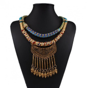 Wensltd Women Colourful Bohemia Tassels Drill Necklace Choker