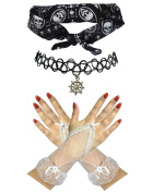 Sailor Black White Skull Bandana + Ship Wheel Choker +Fingerless Gloves