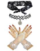 Sailor Black White Skull Bandana + Ship Wheel Choker +Fingerless Gloves