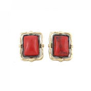 Simple Red Rectangle Turquoise Stone Stud Earrings