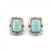 Simple Blue Rectangle Turquoise Stone Stud Earrings
