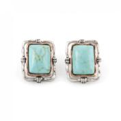 Simple Blue Rectangle Turquoise Stone Stud Earrings