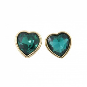 Gold tone Simple Tiny Cute Green Heart Crystal Stud Earrings