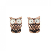 Tiny Cute Copper-tone Big Eye Owl Stud Earrings