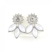 Shiny Cool Silver-tone Crystal Stud Earrings