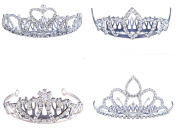 FUMUD 4PCS Elegant Wedding Bridal Prom Sparkling Crystal Rhinestones Crown Tiara with Comb