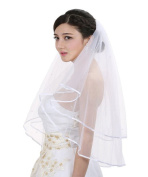 Losuya® 2T 2 Tier Ribbon Edge Centre Gathered Rhinestone Crystal Bridal Wedding Veil-Elbow Length 80cm