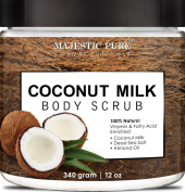 Coconut Milk Body Scrub from Majestic Pure is 100% Natural Scrub - Exfoliates, Moisturises, Soothes and Promotes Glowing and Radiant Skin - 350ml
