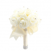 OurWarm Ivory Crystal Pearl Silk Rose Bridal Wedding Bouquet,Pack of 1