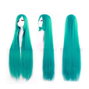 100cm Sweet Girl Cosplay Long Straight Wig Hairpiece Tilted Frisette Green