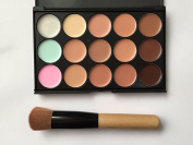 15 Colour Concealer Camouflage Contour Eye Face Cream Makeup Palette Professional with Cosmetics Make up Brushes