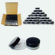 (100 Pcs) Beauticom 3G/3ML High Quality Clear Round Cosmetic Pot Jars with Black Screw Cap Lids
