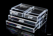 BerucciTM Clear Four Drawers Acrylic Jewellery Makeup Cosmetic Organiser Holder Storage