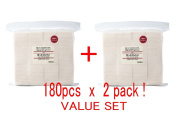 MUJI Makeup Facial Soft Cut Cotton Unbleached 60x50 mm 180pcs x 2 Packs (Total 360 Sheets) Value Set