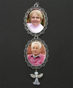 40x30 Personalised Wedding Bouquet Angel Photo Charm Cascading Double Frame for Brides Flowers
