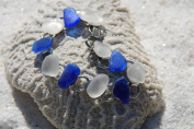 Gorgeous Genuine Blue and Frosted Sea Glass Charm Bracelet