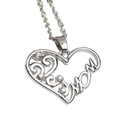 Onairmall I Love Mom Dignified Elegant Heart Necklace Women Fashion Jewellery , Best Gift For Mothers Day