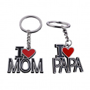 Onairmall Pack of 2 I Love Mom I Love Papa Unique Key Chain Key Holder, Best Gift For Mothers Day Fathers Day