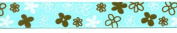 Grosgrain Aqua/Brown Flower Ribbon