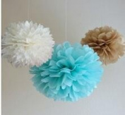 Since ® 12 Mixed White Blue Tan Brown Party Tissue Pompoms Paper Flower Pom Poms Wedding Birthday Nursery Baby Room Decoration Favour