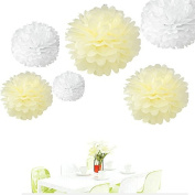 Since ® DIY 12pcs Mixed 3 Sizes White & Ivory Tissue Paper Pom Poms Pompoms Wedding Birthday Party Decoration Holiday Supplies