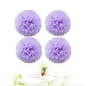 Since® DIY 10pcs 25cm Lavender Tissue Paper Pom Poms Pompoms Flower Balls for Wedding Party Decoration Holiday Supplies