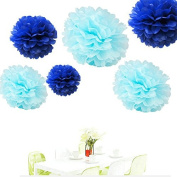 Since ® 12PCS Mixed Royal Blue & Aqua Blue Party Tissue Pom Poms Paper Flower Pompoms Wedding Birthday Party Nursery Decoration