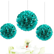 Since ® 12pcs Mixed 3 Sizes Teal Blue Tissue Paper Pom Poms Paper Balls Wedding Party Decoration Holiday Supplies