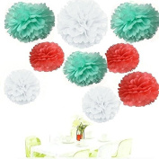 Since ® Pack of 18 Mixed Coral Mint White Tissue Paper Pom Poms Flowers Ball Wedding Birthday Anniversary Party Decorative Flower